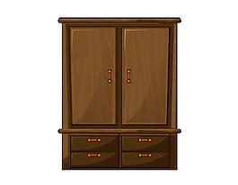 棕色衣柜矢量素材