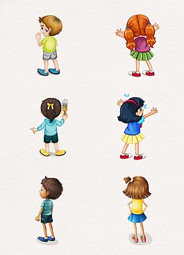 卡通手绘儿童背面设计元素
