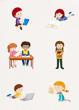 卡通正在學習的人矢量學生元素