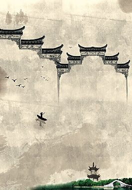 中國風房屋廣告背景
