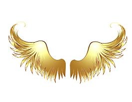 卡通金色漸變羽毛元素