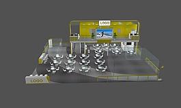 車展展位展覽立體模型素材