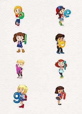 字母可愛孩子設計