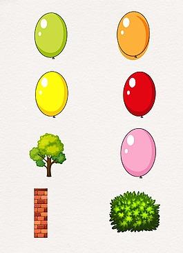 彩色卡通氣球樹木設計
