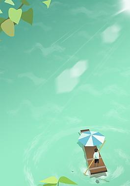 二十四節氣處暑劃船的男孩背景素材