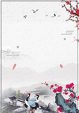 中國風傳統黑白色山水風景背景