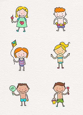 彩绘夏季沙滩旅行玩耍可爱儿童矢量图