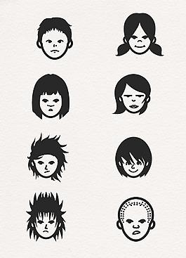 卡通黑色孩子頭像設計