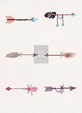 手繪的漫畫羽毛箭矢量素材