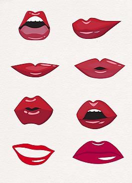 大红色嘴唇卡通设计