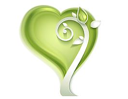 清新绿色爱心树矢量素材