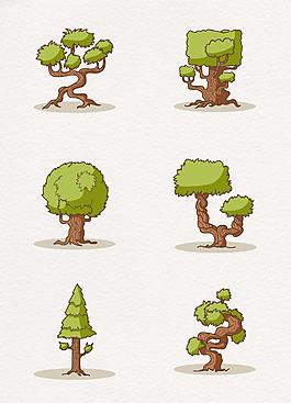 手繪綠色植物大樹元素