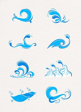 藍色浪花設計矢量素材