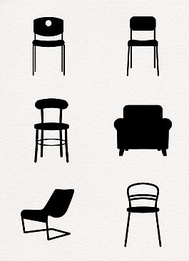 時尚家居椅子剪影元素