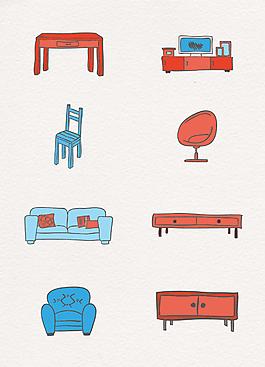 彩繪家居家具矢量設計元素