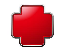 红色醒目医院标志矢量图