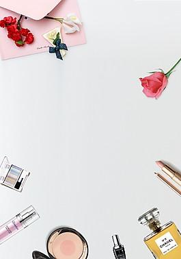 簡約清新化妝品促銷海報背景