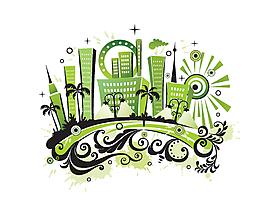 手繪創意城市建筑房子矢量圖