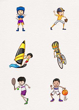 卡通可愛小男孩運動素材