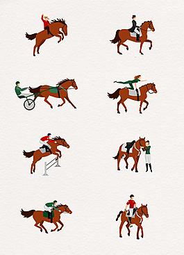 手繪馬術騎馬的人躍馬矢量素材