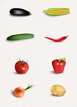 6款逼真蔬菜食材手繪設計