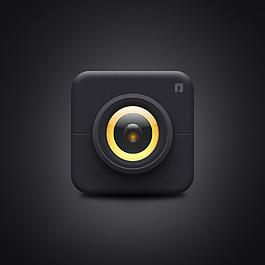 黑色照相机手机图标