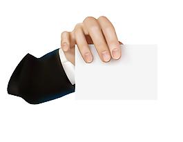 手指里的空白纸张矢量图