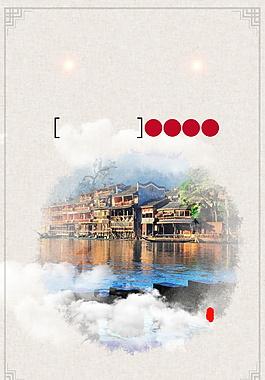 手绘凤凰古城夜景广告背景