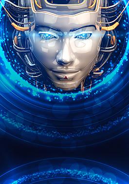 藍色炫光科幻科技人物臉譜商務背景