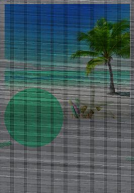 小清新蓝色大海椰树旅行背景