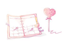 卡通可爱笔与记事本矢量图