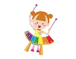 卡通女孩玩敲擊琴矢量元素