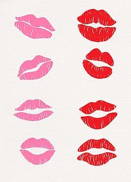 粉色紅色可愛嘴唇設計