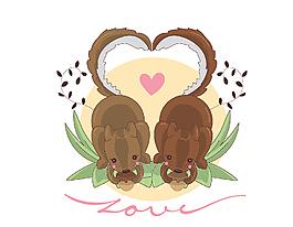 卡通棕色松鼠愛心矢量元素