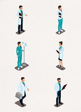 矢量医生和护士人物设计
