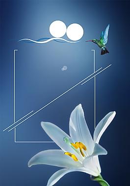 清新美麗百合花廣告背景