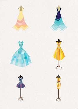 唯美手绘礼服设计素材