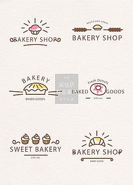 可愛的手繪面包店標志素材