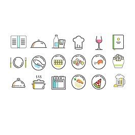 小清新多色西餐图标icon