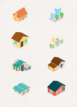 3D的房子圖標集