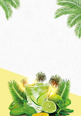 夏季冰爽檸檬水促銷海報背景