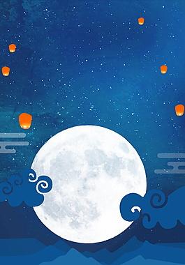 蓝色精美中秋海报背景设计
