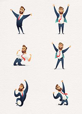 歡呼跳躍的商務男士卡通設計