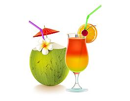 卡通小清新果汁椰汁元素