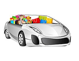 卡通银色汽车礼盒元素
