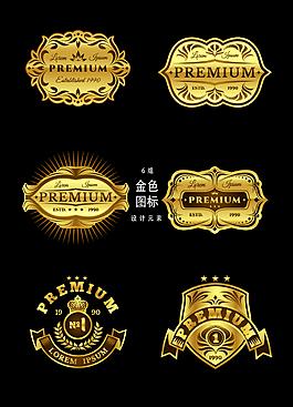 金色勛章圖標設計元素