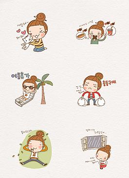 手繪韓國小女孩日常生活人物設計