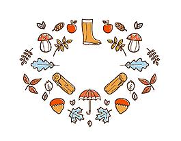 卡通傘蘑菇樹葉矢量元素