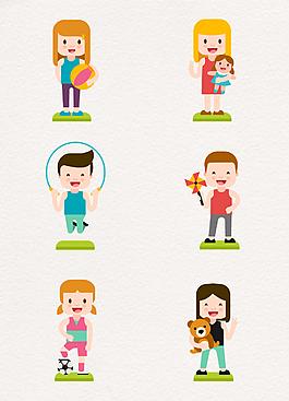 6款创意玩耍的男孩和女孩矢量素材