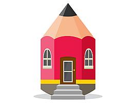 卡通紅色鉛筆房屋矢量元素